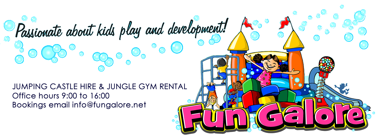 Fun Galore Jumping Castle Rentals in Mpumalanga, Mbombela, The Lowveld, Nelspruit and White River. Childrens party suppliers, hire, party packs and entertainment. Jumping Castles White River, Jumping Castles Nelspruit